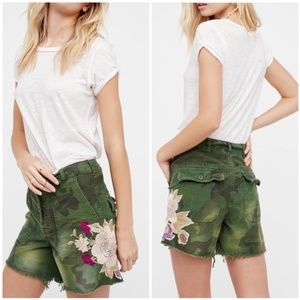 Free People Green Floral Camouflage Short